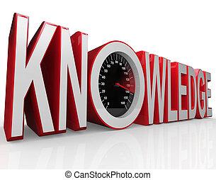snelheidsmeter, leren, woord, kennis, macht