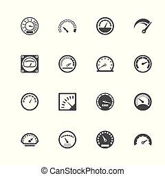 snelheidsmeter, -, plat, vector, iconen