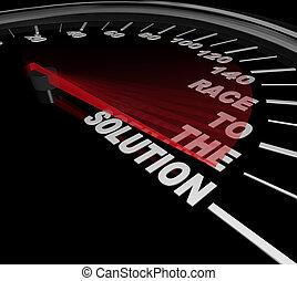 snelheidsmeter, probleem, hardloop, oplossen, oplossing