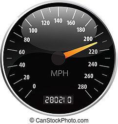 snelheidsmeter, vector, illustratie