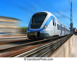 snelle trein, met, beweging onduidelijke plek