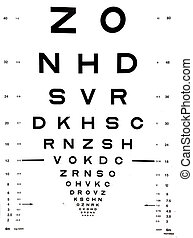 Snellen eye chart that can be used to measure visual acuity....