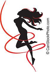 snellezza, ragazza, magro, -, silhouette