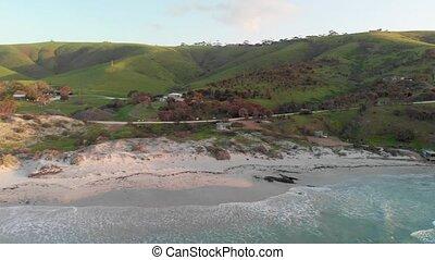 snelling, sunset., vue, plage, île kangourou, aérien, panoramique