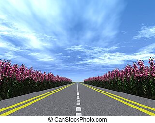 snelweg, bloemen