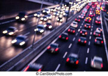 snelweg, door, nacht