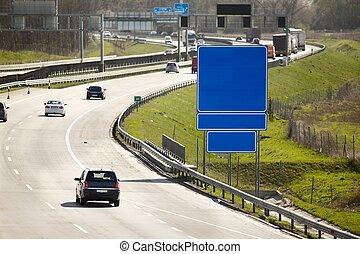 snelweg, met, laag, verkeer