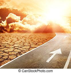 snelweg, om te, hel, door, woestijn