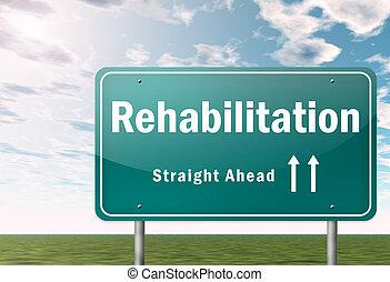 snelweg, wegwijzer, rehabilitatie