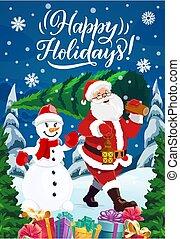 snemand, gaver, chtistmas, santa, træ