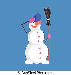 snemand, klassisk, karakter, tre, i live, snebold, militær, situation, cartoon, hilsenen