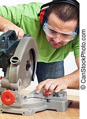 snickare, eller, snickare, arbete, med, makt verktyg