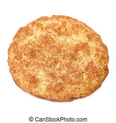 Snickerdoodle - Top side of a snickerdoodle over white.