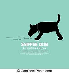 sniffer, cão, símbolo.