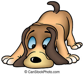 Sniffing Dog - Colored Cartoon Illustration, Vector