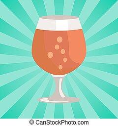 Snifter Beer in Transparent Glassware Vector
