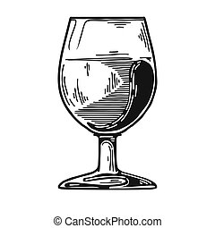 Snifter with Cognac. Vector illustration on white background