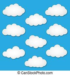 snijden document, wolken, uit