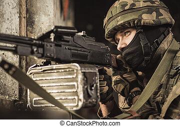 Sniper aiming at the target