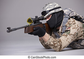 Sniper aiming in studio