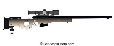 Sniper Rifle - A modern sniper rifle isolated on white.