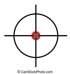 Sniper rifle cross hairs over target isolated on white background.