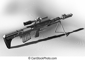 Sniper rifle with optical sight. Engraving,...