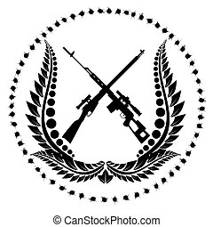 Sniper rifles-1 - Icon with sniper rifles. The illustration ...