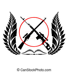 Sniper rifles - Icon with sniper rifles. The illustration on...