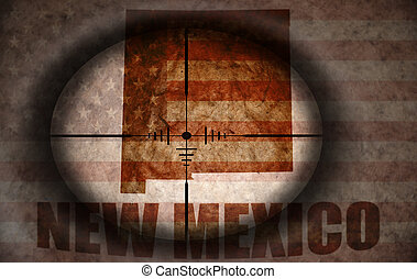 sniper scope aimed at the vintage american flag and new mexico state map