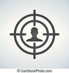 Sniper scope crosshair aiming man, vector illustration