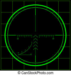 Sniper scope over black background. Night vision.