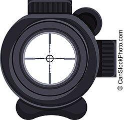 Sniper scope icon, cartoon style