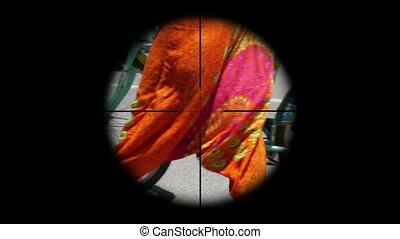 Sniper scope on people terrorism concept