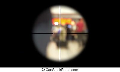 Sniper scope on people terrorism concept
