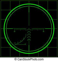 Sniper scope over black background. Night vision.