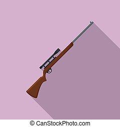 Sniper scope rifle icon, flat style