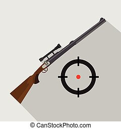 Sniper scope rifle isolated. Flat and cartoon style. Hunting season.