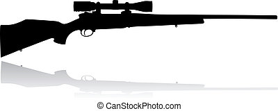 Sniper scope rifle vector black isolated on white background
