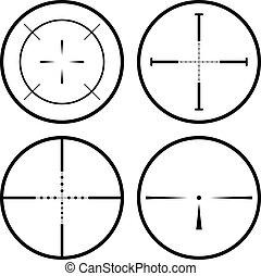 Sniper scope - Set of four black crosshair isolated on white...