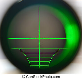 Sniper scope - Snipe scope telescope close up with green...
