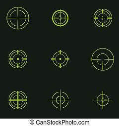 Sniper sight, symbol. Crosshair, target set of icons.