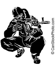 Sniper - The illustration on military issues. A man in...