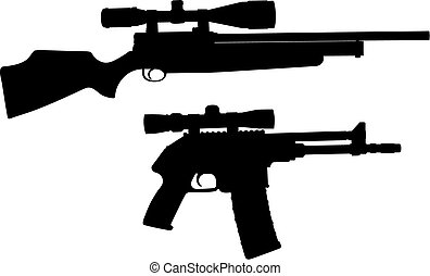 Sniper - Vector illustration of sniper weapon silhouette (...