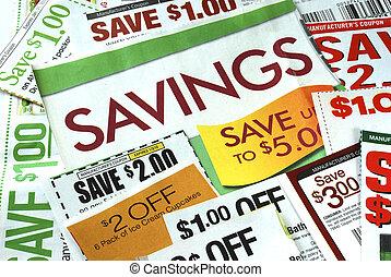 snipperen, enig, bon, om te sparen, geld