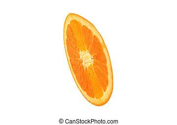 snitt, apelsin, på, den, vit fond