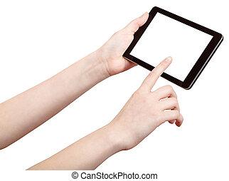 snitt, avskärma, touchpad, finger, press, ute