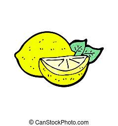 snitt, citron, tecknad film