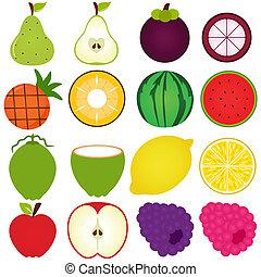 snitt, halvt, frukt, frisk