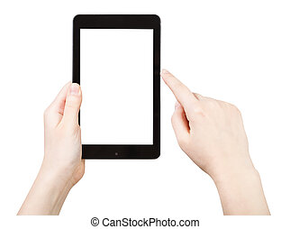 snitt, klickande, avskärma, touchpad, finger, ute
